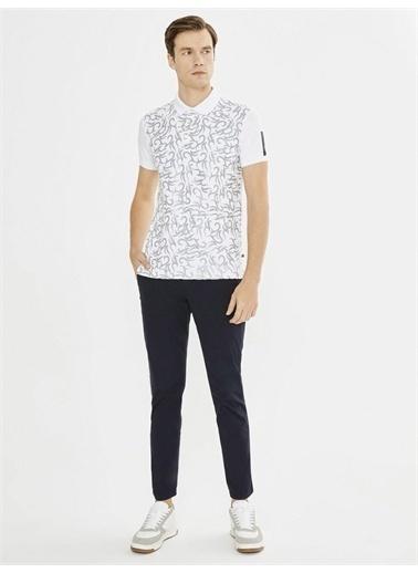 Xint XINT Polo Yaka Baskılı Modal Slim Fit Tişört Beyaz